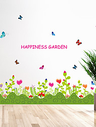 Cartoon Flower Butterfly Wall Stickers Removable Fashion Happiness Garden Bedroom Wall Decals