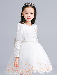 Ball Gown Knee-length Flower Girl Dress - Cotton Tulle Jewel with Embroidery Flower(s) Sash / Ribbon