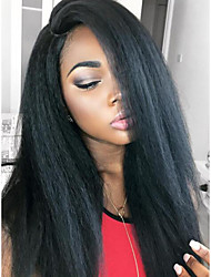 Hot Selling Mongolian Virgin Human Hair Kinky Straight Full Lace Wig with Natural Hairline