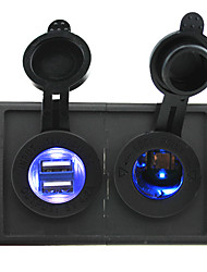 12V/24V Cigarette lighter led Power socket and 4.2A dual USB port with housing holder panel for car boat truck RV