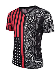 Men's Sports Going out Casual/Daily Holiday Boho Street chic Punk & Gothic Spring Summer T-shirt,Striped Print Paisley V Neck Short Sleeve