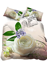 Mingjie 3D Reactive   Flowers  Bedding Sets 4 Pcs for Queen Size Contain 1 Duvet Cover 1 Bedsheet 2 Pillowcases from China