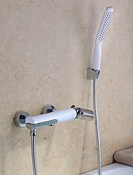 Contemporain Baignoire et douche Douchette inclue with  Soupape céramique Mitigeur deux trous for  Chrome , Robinet de baignoire