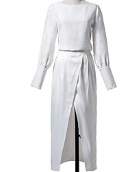 Women's Going out Simple Spring Fall Shirt Pant Suits,Solid Boat Neck Long Sleeve Polyester Long