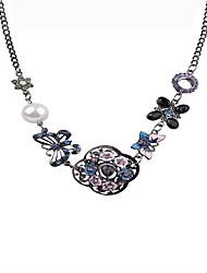 Feminino Colares em Corrente Cristal Formato de Coração Formato de Flor Formato de Laço Forma Geométrica RosePérola imitação de diamante