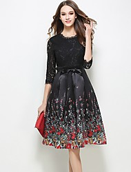 Women's Going out Casual/Daily Simple Sheath Dress,Patchwork Lace Round Neck Knee-length ½ Length Sleeve Polyester Black Spring SummerMid