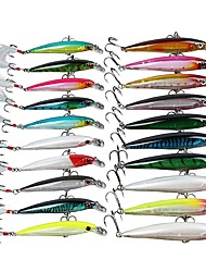 Lot 20Pcs Plastic Minnow Fishing Lures Bass CrankBait Tackle Baits