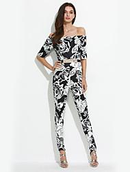 Women's Floral Slim Sexy Backless Jumpsuits,Vintage Boat Neck ½ Length Sleeve