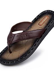 Men's Sandals Spring Summer Fall Comfort Light Soles Rubber Casual Flat Heel Dark Brown Light Brown Walking