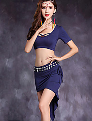 Belly Dance Outfits Women's Performance Modal 2 Pieces Short Sleeve Natural Top / Skirt