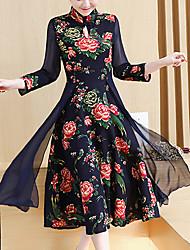 Feminino Reto Vestido, Para Noite Casual Férias Vintage Moda de Rua Temática Asiática Xadrez Colarinho Chinês Longo Altura dos Joelhos