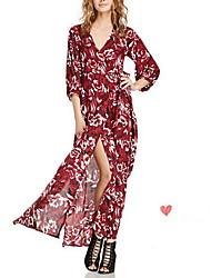 Ample Robe Femme Vacances Sexy,Fleur Col en V Maxi Manches Longues Rouge Coton Eté Taille Haute Non Elastique Moyen
