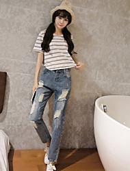 Значок корейский промывают джинсы отверстие bf ветер нищий отверстие колготки волна