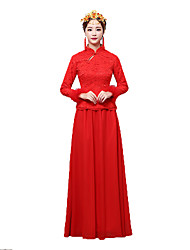Classic/Traditional Lolita Vintage Inspired Elegant Dress Red Print Dress For Women Terylene