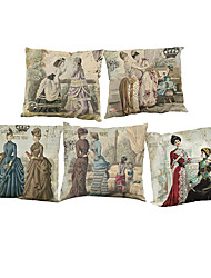 Set of 5  Palace retro pattern Linen Pillowcase Sofa Home Decor Cushion Cover