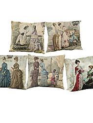 5 PC Lino Natural/Orgánico Cobertor de Cojín Funda de almohada,Sólido Con TexturasCasual Retro Tradicional/Clásico Reforzar Euro Estilo