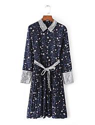 Ample Robe Femme Sortie Plage Vacances Sexy simple Mignon,Fleur Col de Chemise Midi Manches Longues Bleu Marron Polyester PrintempsTaille