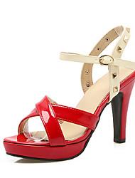 Damen-Sandalen-Lässig-Kunstleder-BlockabsatzSchwarz Rot