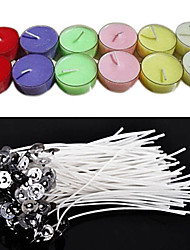 50Pcs 20Cm Quality Candle Wicks Cotton Core Waxed With Sustainers For DIY Making Candles Gifts