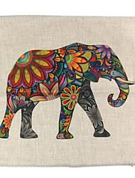 RayLineDo® Linen Cotton Square Throw Pillow Cover Colorful Elephant Decorative Pillow Case CTJZ21-PC-ELE