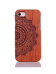 For Shockproof Embossed Pattern Case Back Cover Case Mandara Hard Pear Solid Wood for Apple iPhone 7 7 Plus 6s 6 Plus SE 5s 5
