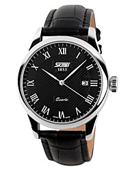 SKMEI Classic Business Fashion Really Belt  Waterproof Calendar Quartz Watch