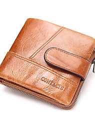 Contacts Genuine Leather Men Compact Short Wallet Zipper Coin Pouch Sports Casual Outdoor Shopping Cowhide