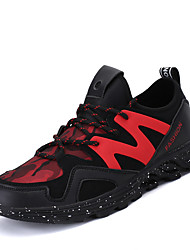 Men's Athletic Shoes PU Athletic Flat Heel Split Joint Black Black/White Red/Black Tennis