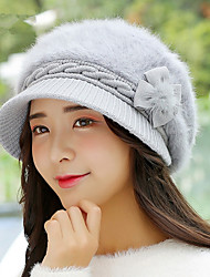 Autumn And Winter Women 'S New Maple Leaf Hair Ball Rabbit Cap Warm Fashion Caps Rabbit Fur