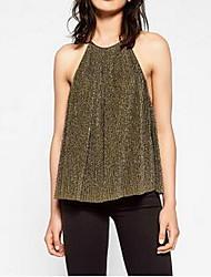 Damen Solide Einfach Ausgehen Tank Tops,Gurt Sommer Ärmellos Gold Baumwolle