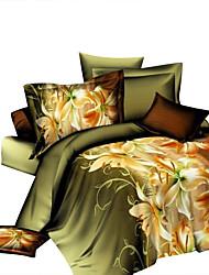 Blumen Bettbezug-Sets 4 Stück Polyester 3D Reaktivdruck Polyester ca. 1,50 m breites Doppelbett4-teilig (1 Bettbezug, 1 Bettlaken, 2