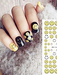 Water Transfer Printing Cartoon Smiling Face Pattern Nail Stickers