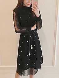 Women's Lace Plus Size Going out Work Sexy Simple Cute Shift Dress,Solid Stand Midi Knee-length Long Sleeve Polyester Black All Seasons Summer