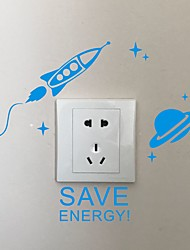 AYA DIY Wall Stickers Wall Decals Cartoon SAVE ENERGY Type PVC Switch Panel Stickers 27*20cm