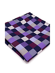 Men's Pocket Square Purple Checked 100% Silk New Casual Business For Men