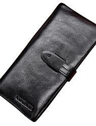 Contacts Italian Genuine Leather Men Long Wallet Compact Clutch 6 Phone Holder Casual Shopping Checkbook Wallet Cowhide