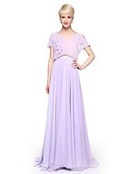 2017 Lanting Bride® Floor-length Chiffon Elegant Bridesmaid Dress - Sheath / Column V-neck with Pleats