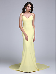 TS Couture Prom / Dress - Celebrity Style Sheath / Column Spaghetti Straps Court Train Jersey with Pleats