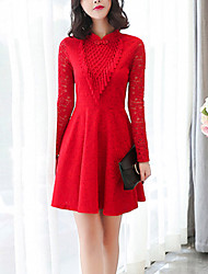 Women's  Slim A Line Lace DressSolid Lace Cut Out Tassel Turtleneck Mini Long Sleeve Polyester Red Black Spring High Rise