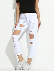 Schlank Skinny Jeans Hose-Ausgehen Lässig/Alltäglich Sexy Vintage Einfach einfarbig Hohe Hüfthöhe Reisverschluss Elasthan Micro-elastisch