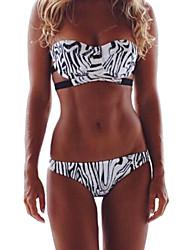 Women's Bandeau Bandeau Bikini,Floral Polyester Black