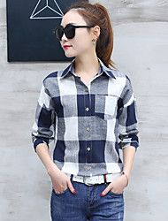 Feminino Camisa Social Casual Formal Trabalho Simples Sofisticado Primavera Outono,Listrado Azul Algodão Raiom PoliésterColarinho de