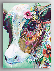 Hand-Painted  Animal a Cow Wearing Flowers by Knife Canvas Oil Painting With Stretcher For Home Decoration Ready to Hang
