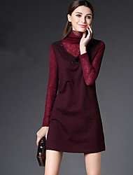 Women's Casual/Daily Formal Work Simple Sophisticated A Line Lace Chiffon Dress,Solid Embroidered Beaded Cut Out Turtleneck Above Knee