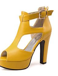 Femme Chaussures Matières Personnalisées Similicuir Printemps Eté Automne Confort Nouveauté Sandales Gros Talon Block Heel Bout ouvert