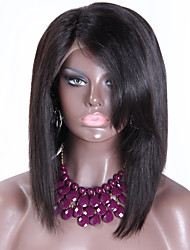 Brazilian virgin hair wig short bob straght lace front wig with bangs