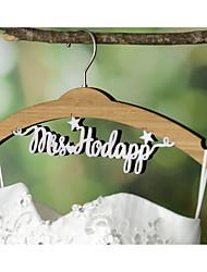 Wedding Dress Hanger Personalized Wedding Hanger Bamboo Hanger with White Acrylic Bride Name
