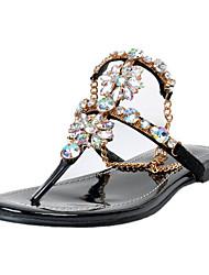 Women's Sandals PU Spring Summer Fall Casual Dress Party & Evening Rhinestone Flower Low Heel Almond Flat