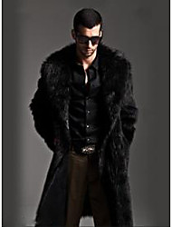 Men's Gift Activewear Work Christmas Gifts Classic Winter Fur Coat,Solid Color Peter Pan Collar Long Sleeve Long N/A