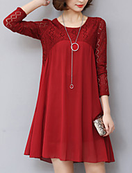 Women's Plus Size / A Line Lace Cut Out Dress Patchwork Round Neck Above Knee Long Sleeve  Spring Mid Rise